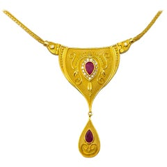 Georgios Collections 18 Karat Yellow Gold Diamond Ruby Dangle Drop Necklace