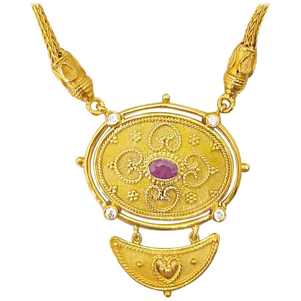 Georgios Collections 18 Karat Yellow Gold Diamond Ruby Drop Pendant Necklace
