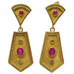 Georgios Collections 18 Karat Yellow Gold Diamond Ruby Etruscan-Style Earrings