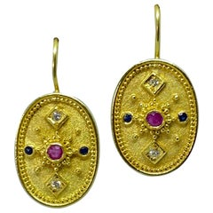 Georgios Collections 18 Karat Yellow Gold Diamond Ruby Sapphire Drop Earrings