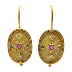 Georgios Collections 18 Karat Yellow Gold Diamond Ruby Sapphire Drop Earrings