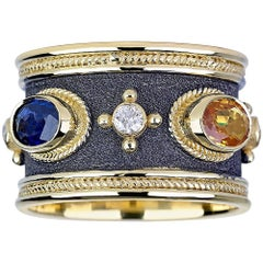 Georgios Collections 18 Karat Yellow Gold Diamond Sapphire and Emerald Band Ring