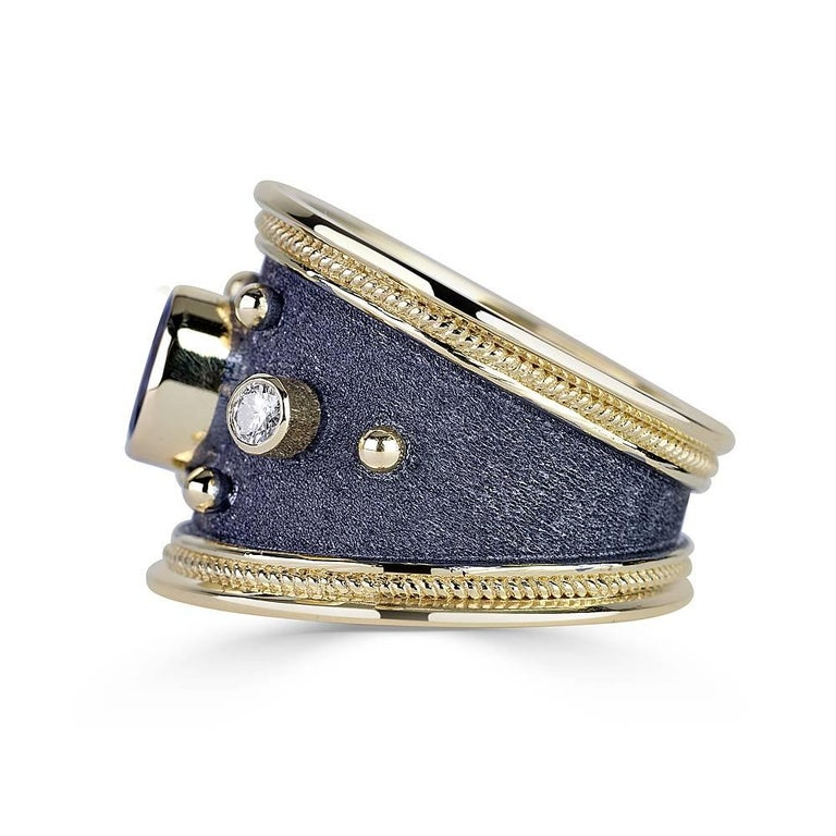 Byzantine Georgios Collections 18 Karat Gold Diamond and Sapphire Two-Tone Band Ring For Sale