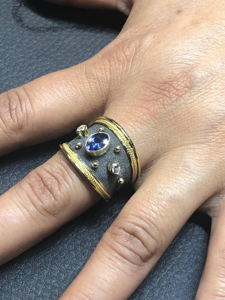 Oval Cut Georgios Collections 18 Karat Gold Diamond and Sapphire Two-Tone Band Ring For Sale