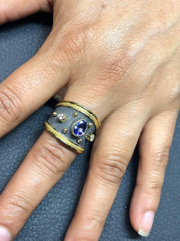 Georgios Collections 18 Karat Gold Diamond and Sapphire Two-Tone Band Ring For Sale 4