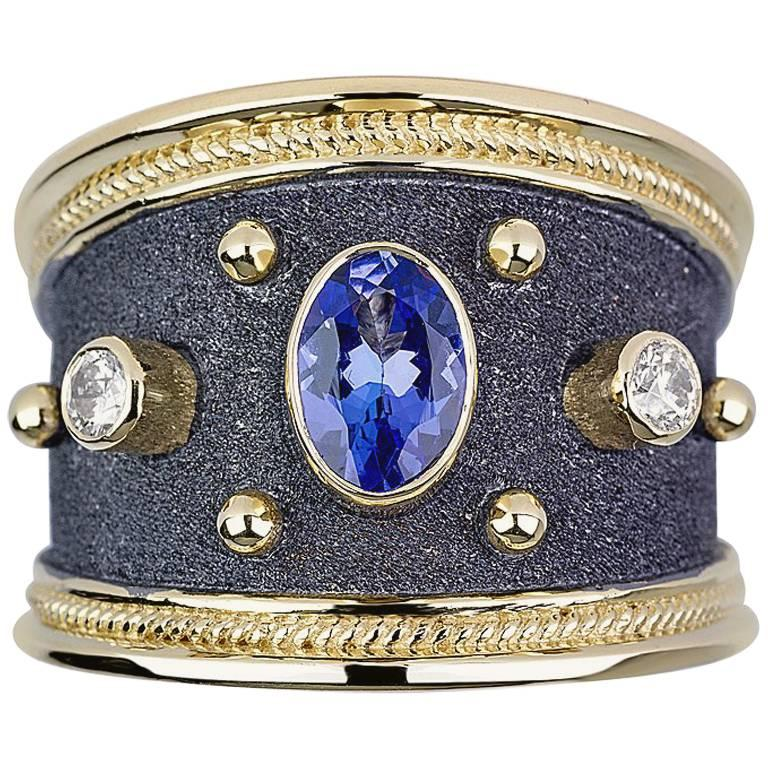 Georgios Collections 18 Karat Yellow Gold Diamond Sapphire Granulated Band Ring