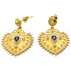 Georgios Collections 18 Karat Yellow Gold Diamond Sapphire Drop Earrings
