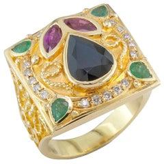 Georgios Collections 18 Karat Yellow Gold Diamond Sapphire Emeralds Rubies Ring