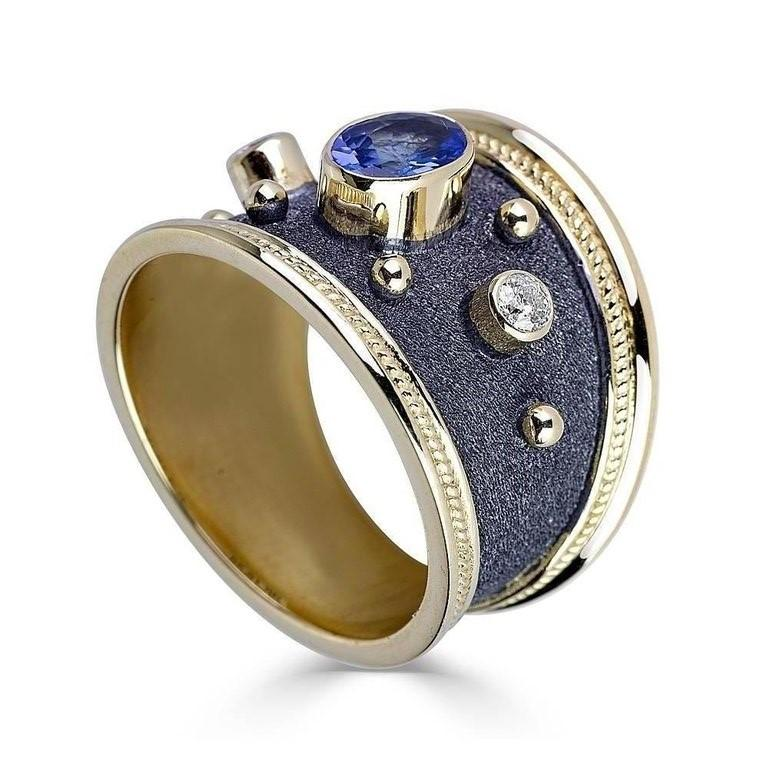Georgios Collections 18 Karat Gold Diamond and Sapphire Two-Tone Band Ring For Sale 2