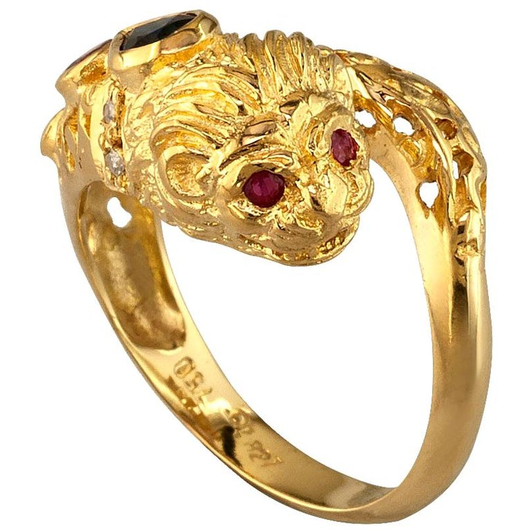 Georgios Collections 18 Karat Yellow Gold Diamond Sapphire Lions Head Band Ring For Sale