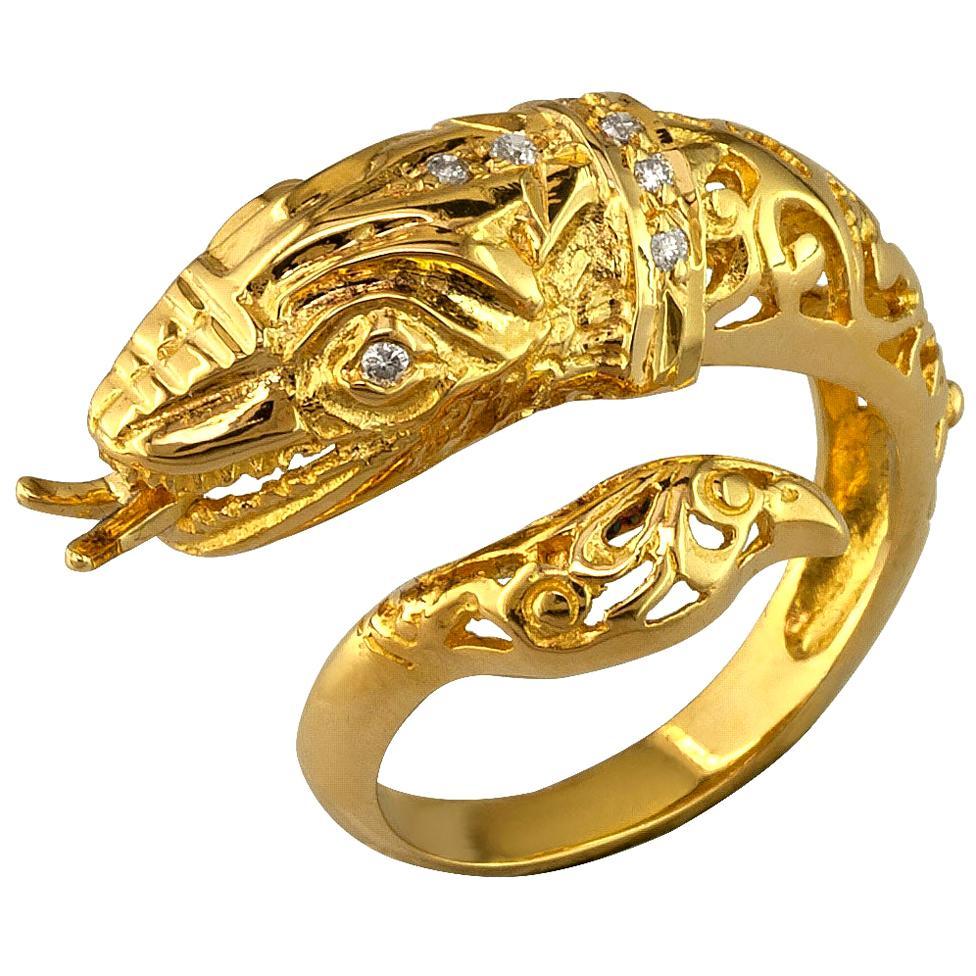 Georgios Collections 18 Karat Yellow Gold Diamond Snake Serpent Head Band Ring