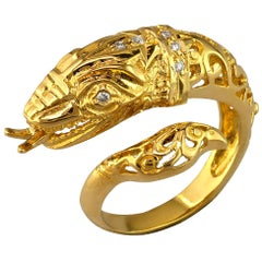 Georgios Collections 18 Karat Yellow Gold Diamond Snake Serpent Head Band Ring