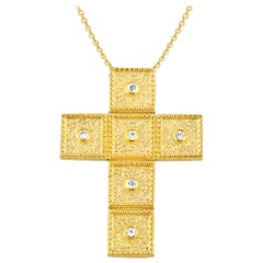 Georgios Collections 18 Karat Yellow Gold Diamond Square Cross with Chain