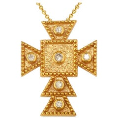 Georgios Collections 18 Karat Yellow Gold Diamond Square Small Cross and Chain