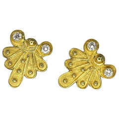 Georgios Collections 18 Karat Yellow Gold Diamond Stud Earring Byzantine Style