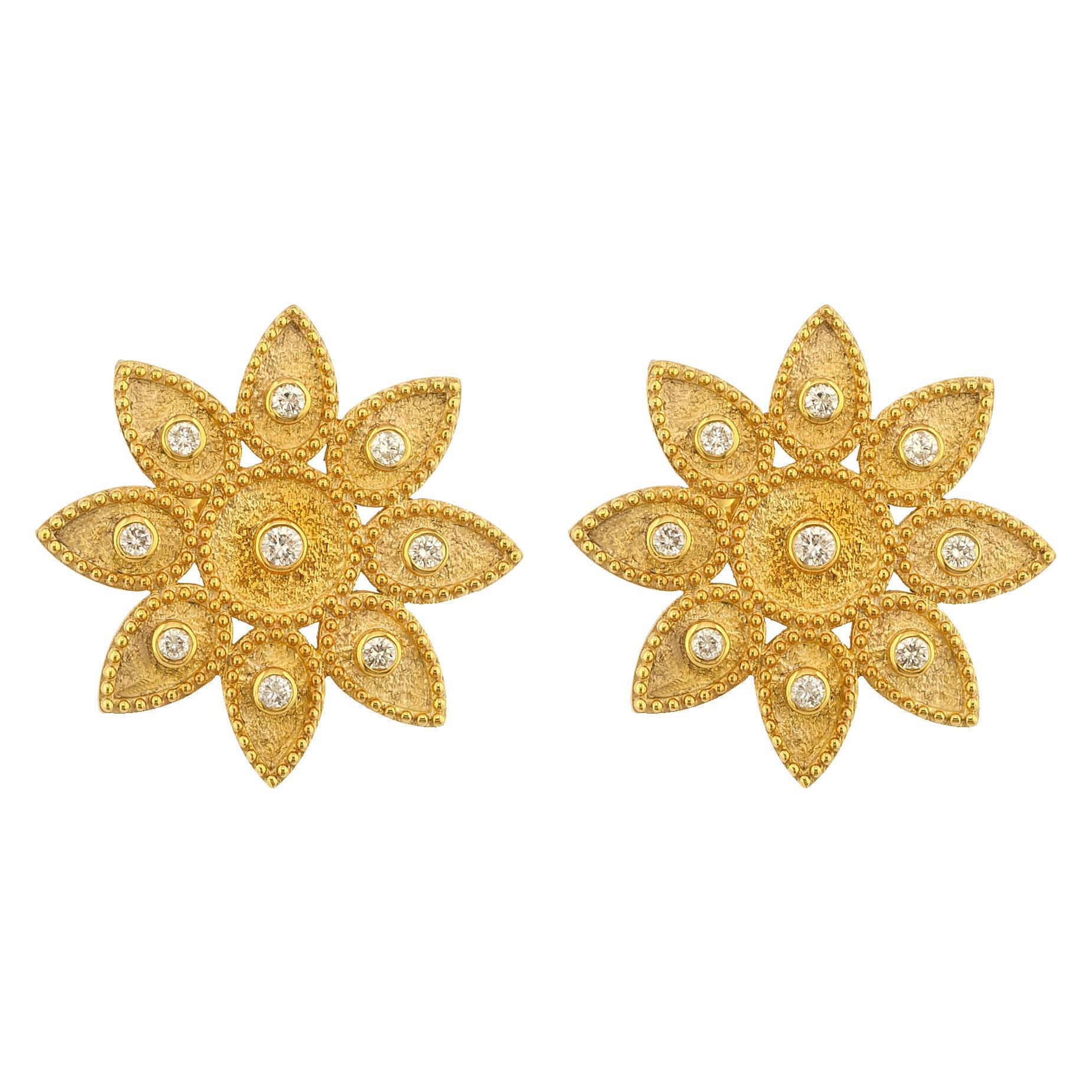 Georgios Collections 18 Karat Yellow Gold Diamond Sunburst Stud Round Earrings