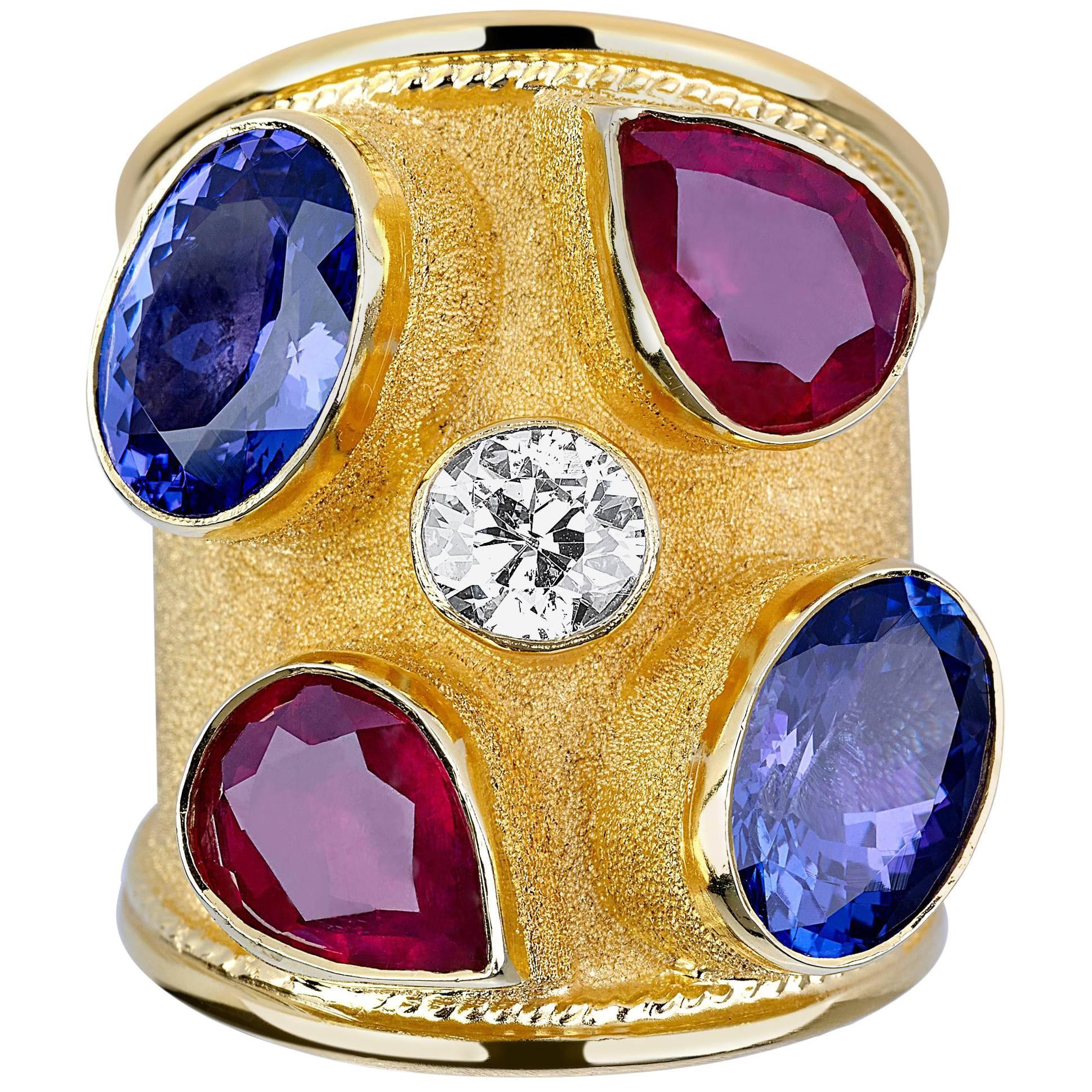 Georgios Collections 18 Karat Yellow Gold Diamond Tanzanite and Ruby Thick Ring