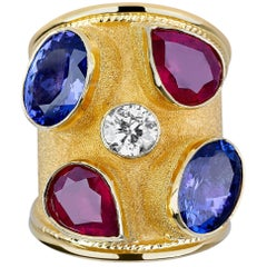 Georgios Collections 18 Karat Yellow Gold Diamond Tanzanite and Ruby Thick Ring