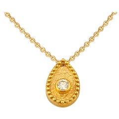 Georgios Collections 18 Karat Yellow Gold Diamond Teardrop Pendant Necklace