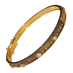 18 Karat Yellow Gold Diamond Thin Bracelet Reversible