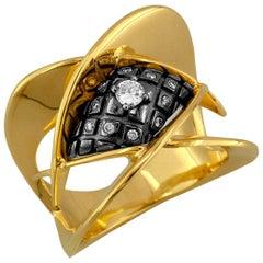Georgios Collections 18 Karat Yellow Gold Diamond Two-Tone Black Rhodium Ring