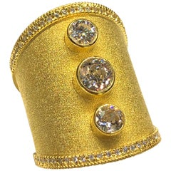 18 Karat Yellow Gold Diamond Wide Ring in Byzantine Style