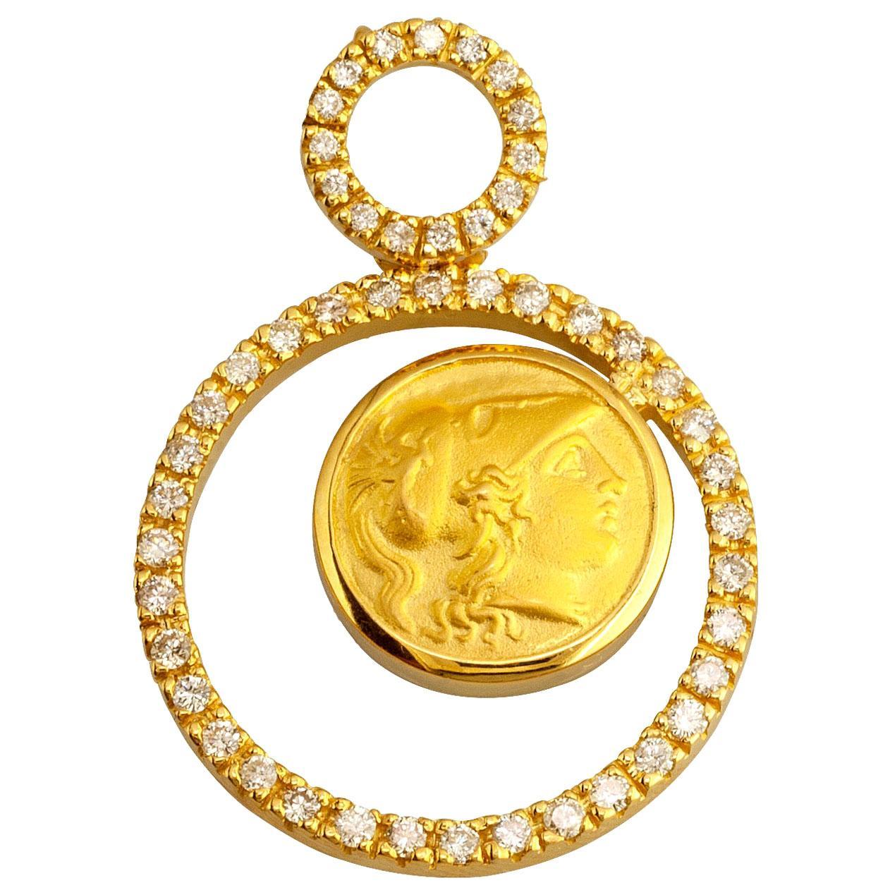 Georgios Collections 18 Karat Yellow Gold Diamonds Athena Coin Pendant Necklace