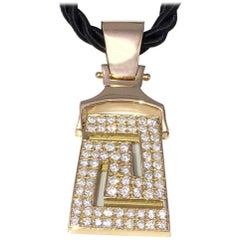 Georgios Collections 18 Karat Yellow Gold Diamonds Greek Key Pendant Necklace