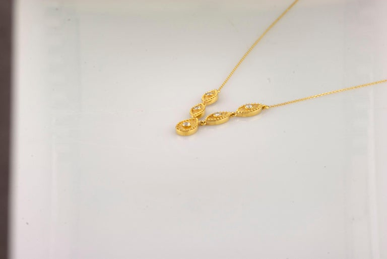 Georgios Collections 18 Karat Yellow Gold Drop Diamond Pendant and Necklace For Sale 4