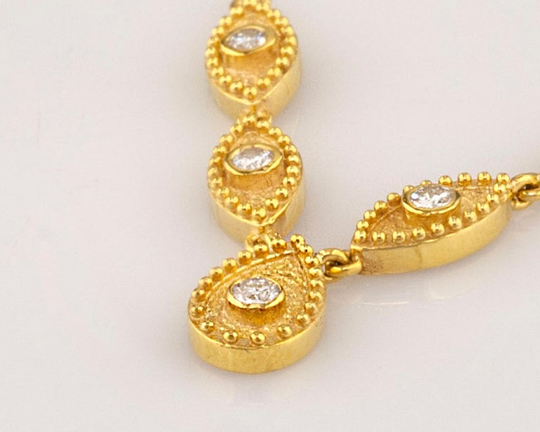 Georgios Collections 18 Karat Yellow Gold Drop Diamond Pendant and Necklace For Sale 1