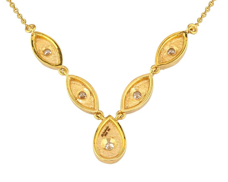 Georgios Collections 18 Karat Yellow Gold Drop Diamond Pendant and Necklace For Sale 2