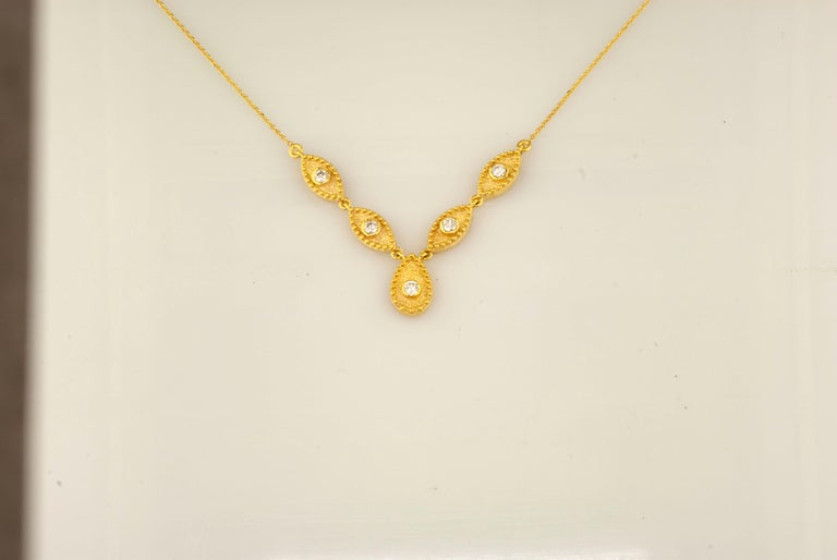 Georgios Collections 18 Karat Yellow Gold Drop Diamond Pendant and Necklace For Sale 3