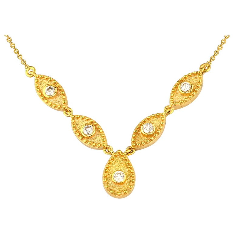 Georgios Collections 18 Karat Yellow Gold Drop Diamond Pendant and Necklace For Sale