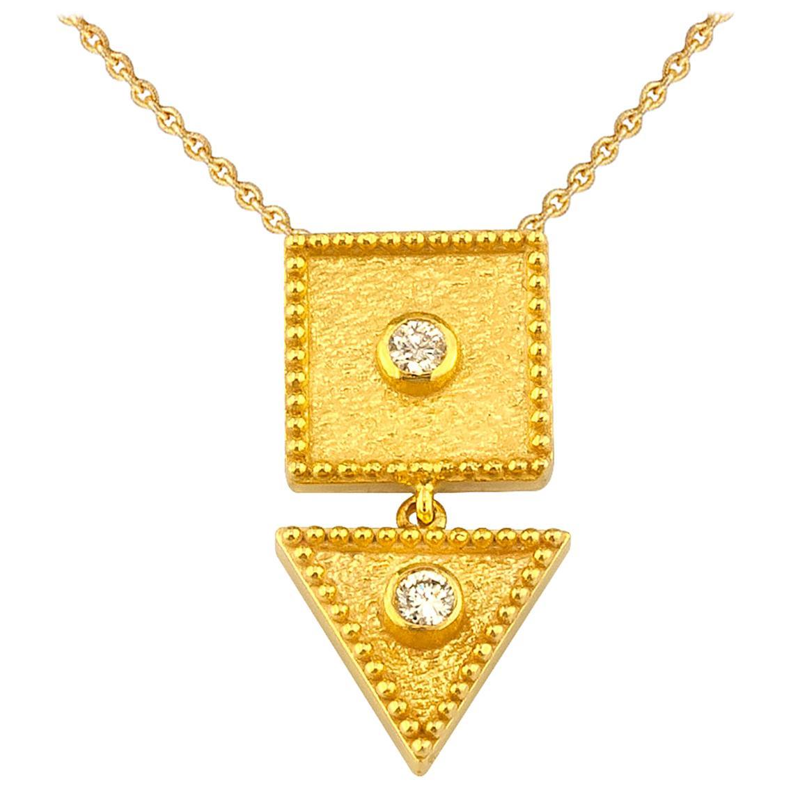 Georgios Collections 18 Karat Yellow Gold Drop Diamond Pendant Necklace Chain