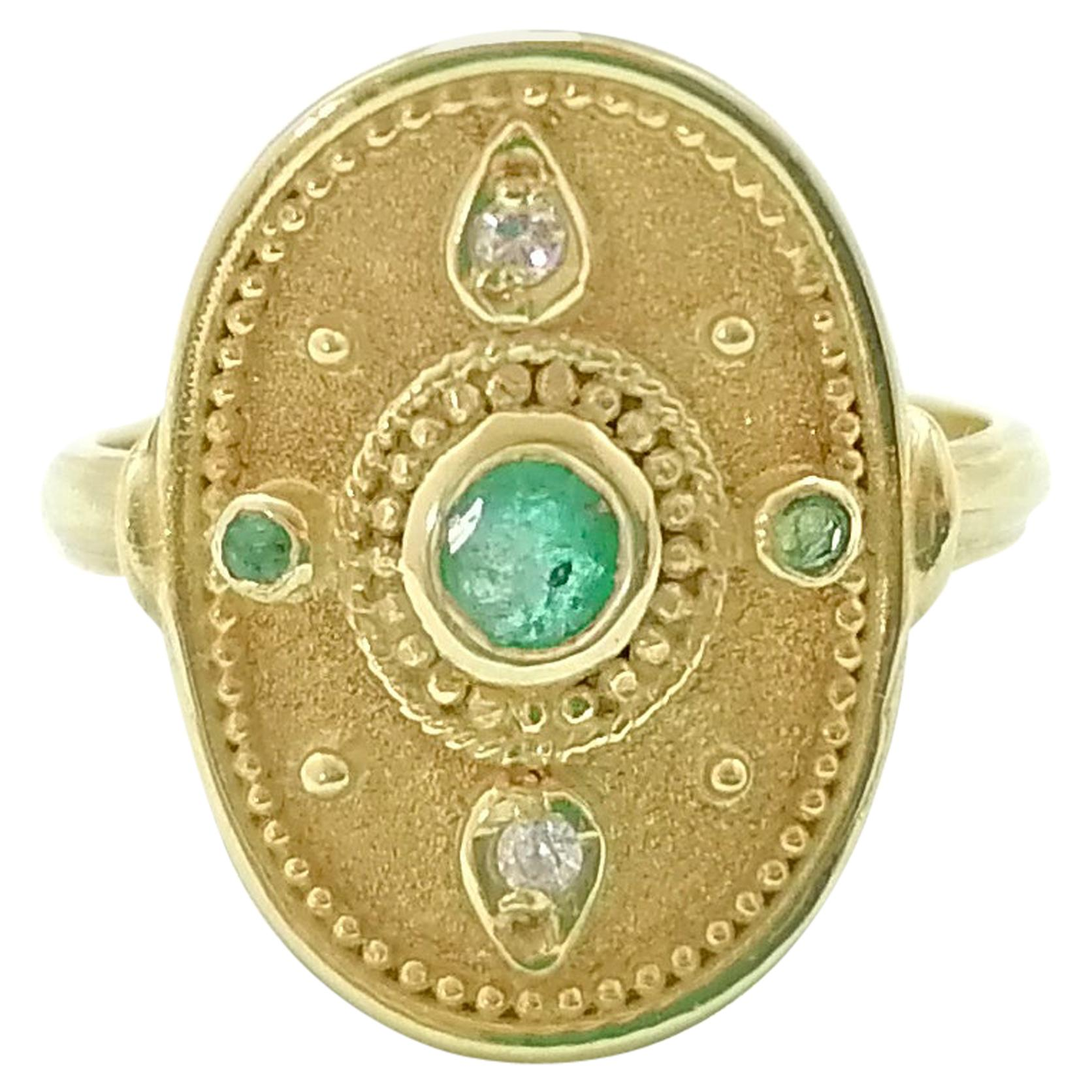 Georgios Collections 18 Karat Yellow Gold Emerald and Diamond Round Band Ring
