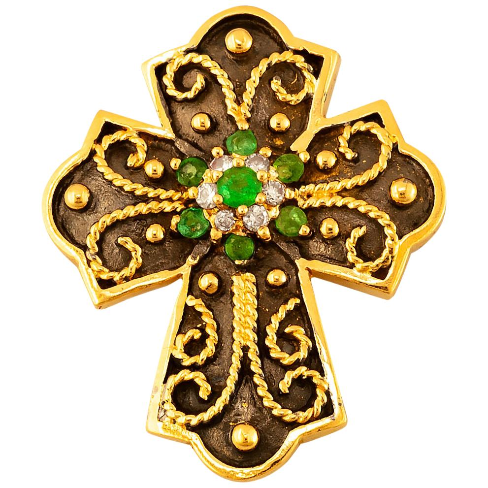 Georgios Collections 18 Karat Yellow Gold Emerald and Diamond Two-Tone Cross