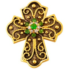 Georgios Collections 18 Karat Yellow Gold Emerald and Diamond Two-Tone Cross