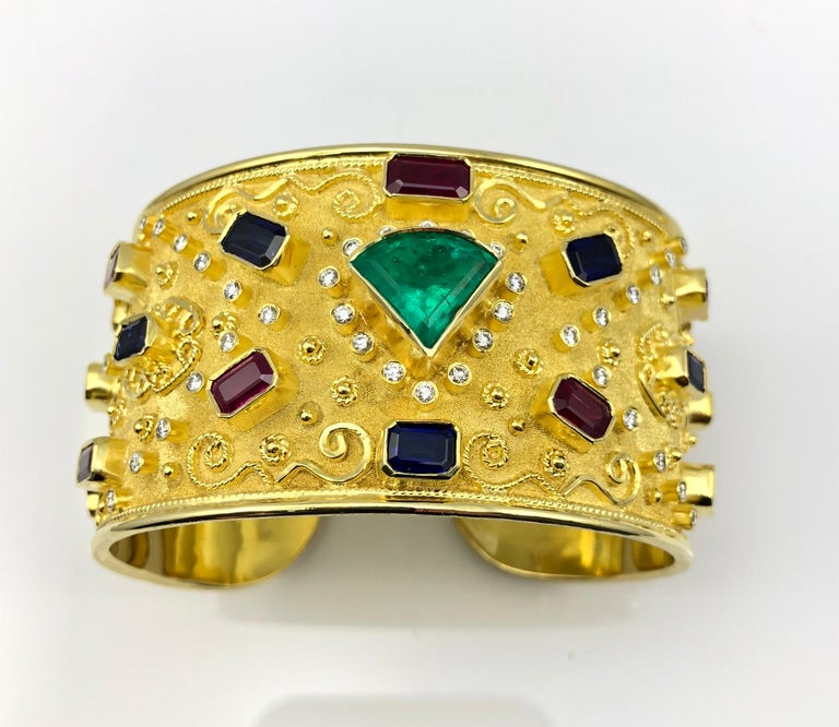Byzantine Georgios Collections 18 Karat Yellow Gold Emerald Bracelet with Rubies Sapphires For Sale