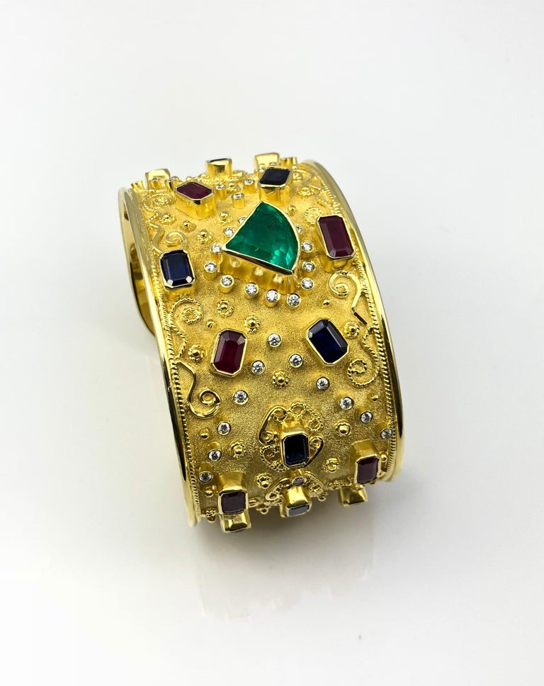 Georgios Collections 18 Karat Yellow Gold Emerald Bracelet with Rubies Sapphires In New Condition For Sale In Astoria, NY