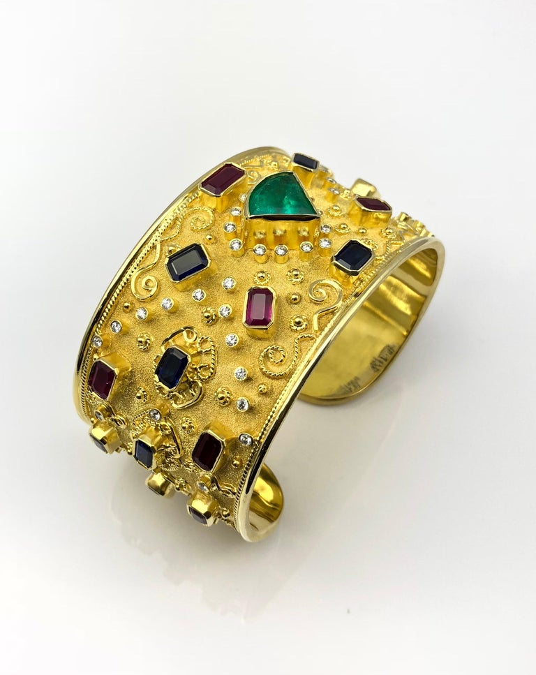 Women's Georgios Collections 18 Karat Yellow Gold Emerald Bracelet with Rubies Sapphires For Sale