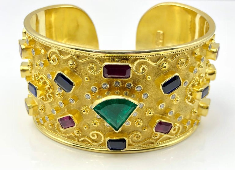 Georgios Collections 18 Karat Yellow Gold Emerald Bracelet with Rubies Sapphires For Sale 1
