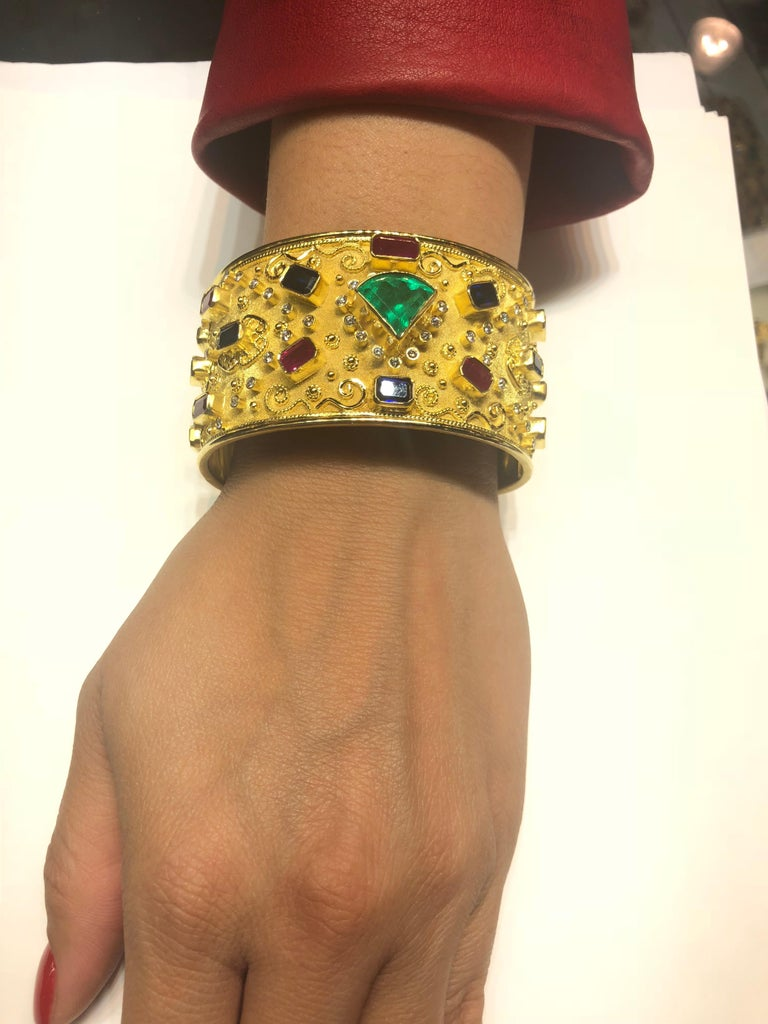Georgios Collections 18 Karat Yellow Gold Emerald Bracelet with Rubies Sapphires For Sale 2