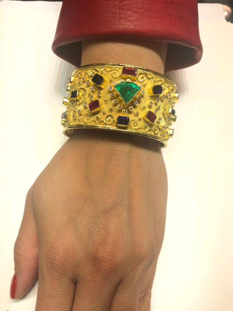 Georgios Collections 18 Karat Yellow Gold Emerald Bracelet with Rubies Sapphires For Sale 3