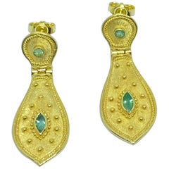 Georgios Collections 18 Karat Yellow Gold Emerald Dangle Drop Long Earrings