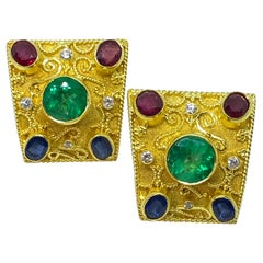 Georgios Collections 18 Karat Yellow Gold Emerald Diamond Ruby Sapphire Earrings