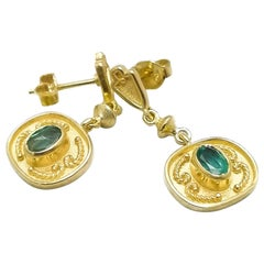 Georgios Collections 18 Karat Yellow Gold Emerald Etruscan-Style Drop Earrings