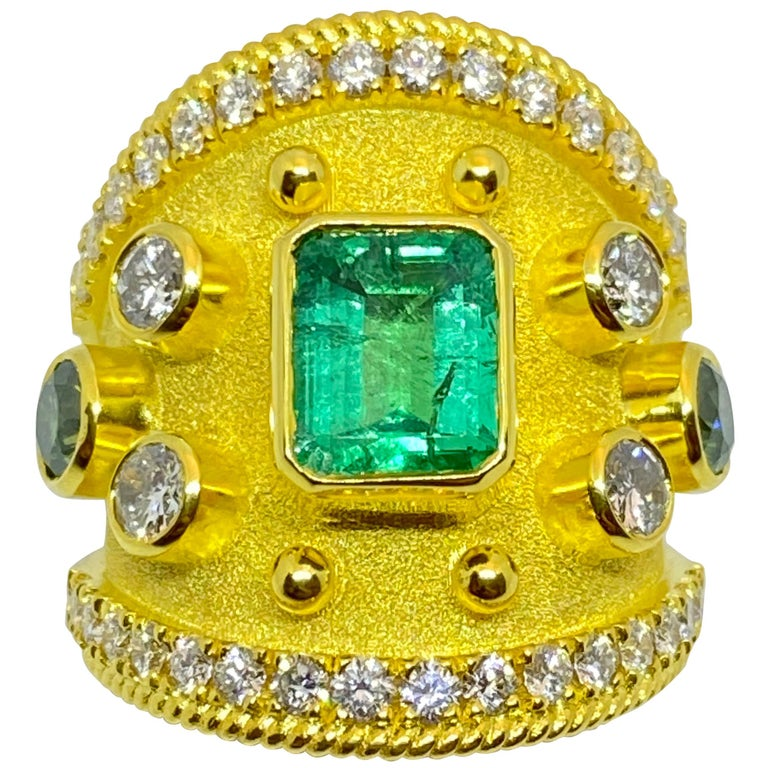 Georgios Collections 18 Karat Yellow Gold Emerald Multi-Color Diamond Band Ring For Sale
