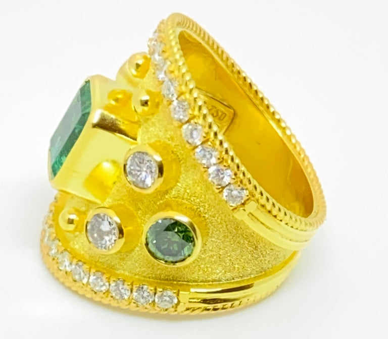 Georgios Collections 18 Karat Yellow Gold Emerald Multi-Color Diamond Band Ring For Sale 5