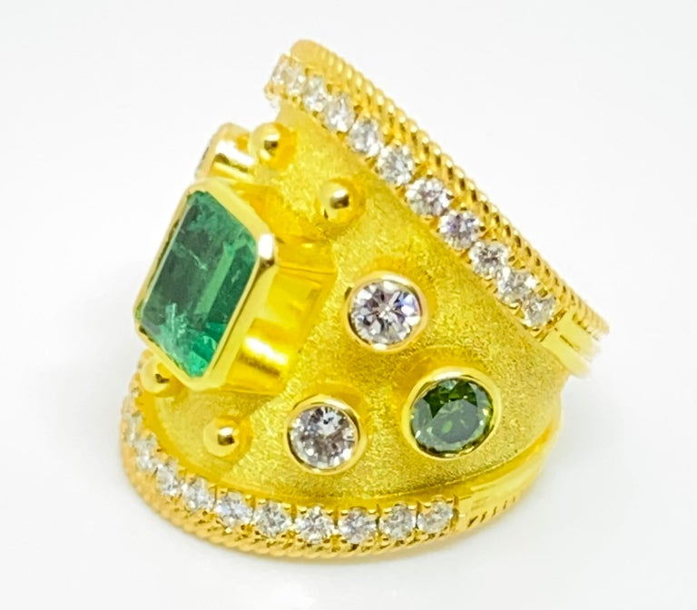 Georgios Collections 18 Karat Yellow Gold Emerald Multi-Color Diamond Band Ring For Sale 6