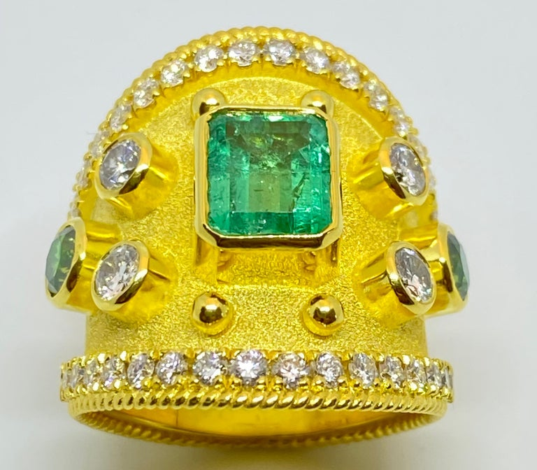 Byzantine Georgios Collections 18 Karat Yellow Gold Emerald Multi-Color Diamond Band Ring For Sale